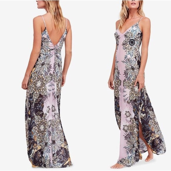 14dd22d251579 Free People Dresses & Skirts - FREE PEOPLE Wildflower Printed Maxi Slip  Dress S M